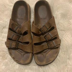 Birkenstock Betula Brown Leather 3 Strap Slides